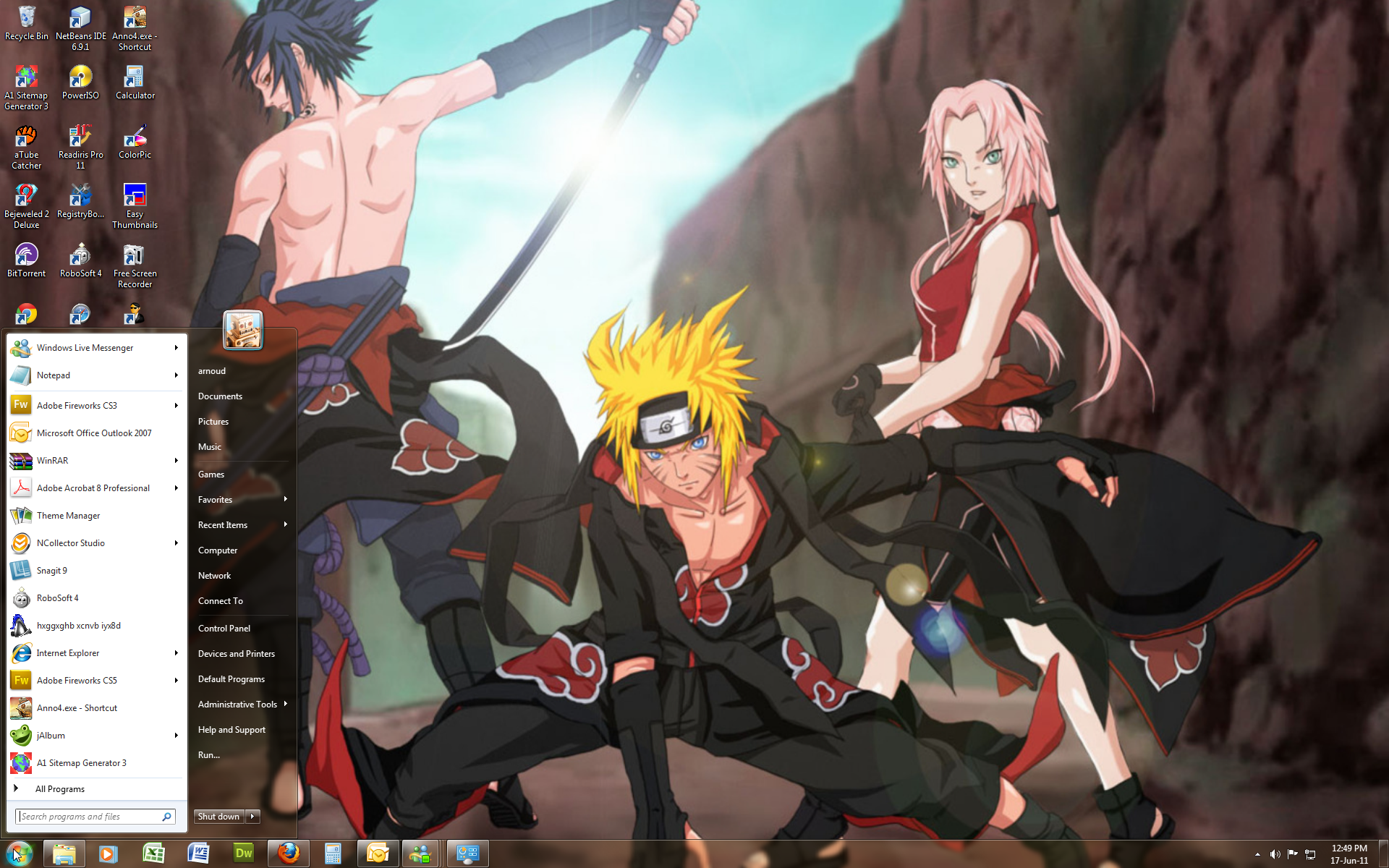 Naruto Shippuden Win 7 Theme By Windowsthememanager On