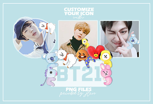 Bt21 Painted Characters PNG