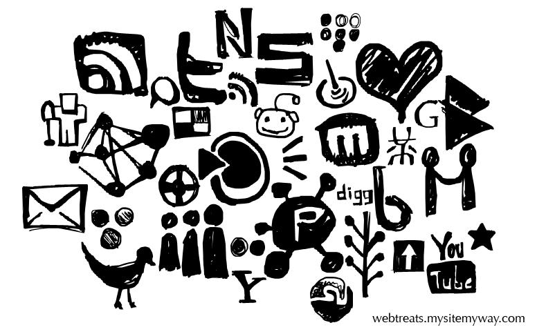 Hand Drawn Social Media Shapes by WebTreatsETC