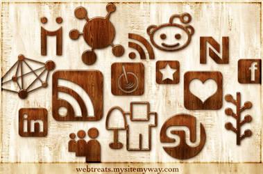 Wood Social Networking Icons by WebTreatsETC