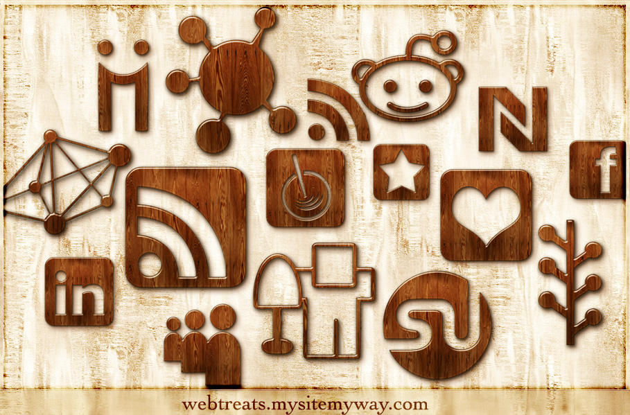Wood Social Networking Icons by WebTreatsETC
