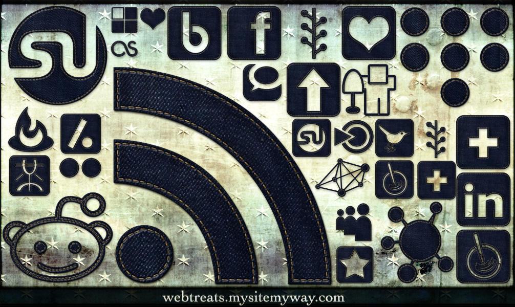 Denim Jeans Social Media Icons by WebTreatsETC