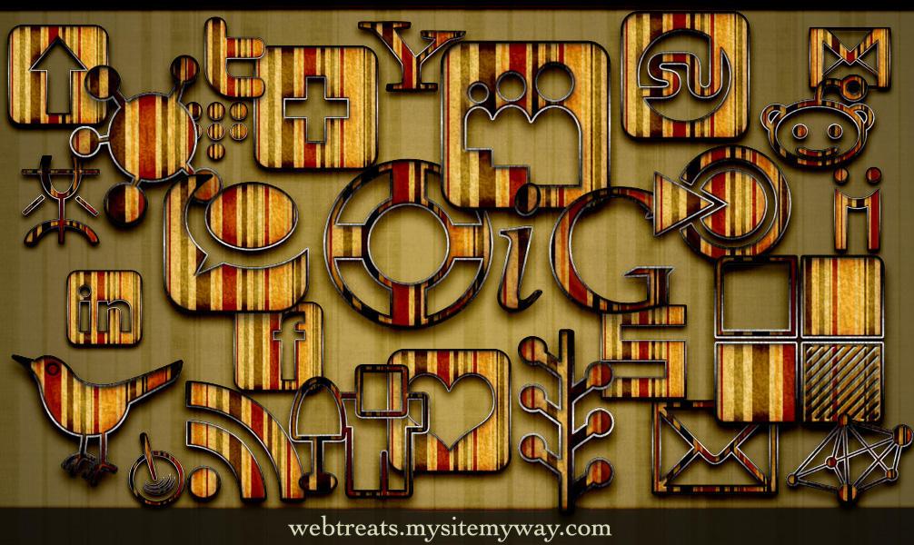 Retro Grunge Striped Icons by WebTreatsETC