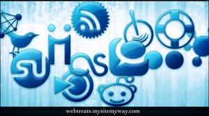 Blue Jelly Social Media Icons by WebTreatsETC
