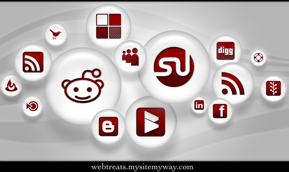108 Red Pearl Soc. Media Icons