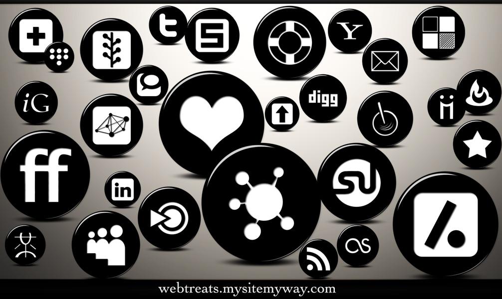 3D Black Button Social Media