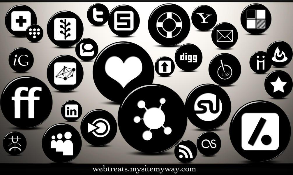 3D Black Button Social Media by WebTreatsETC