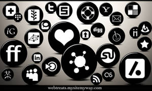 3D Black Button Social Media
