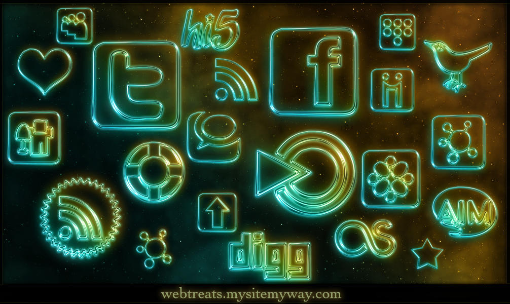 108 Glowing Neon Social Media by WebTreatsETC