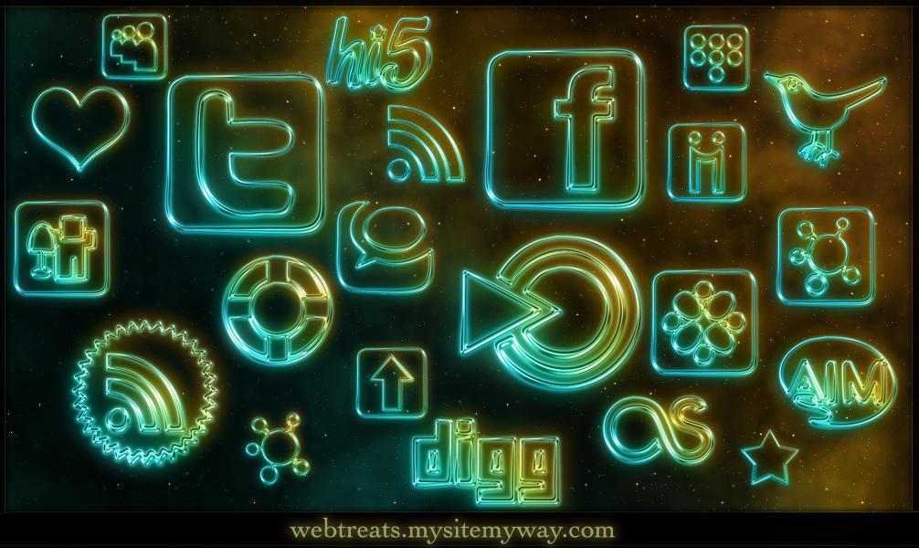 108 Glowing Neon Social Media by WebTreatsETC
