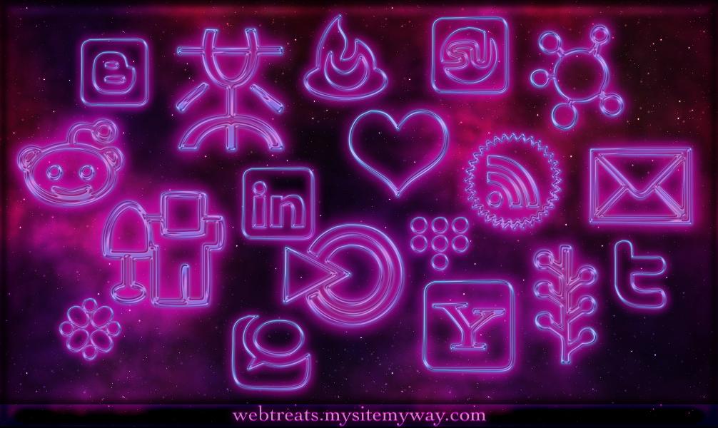 glowing purple neon icons