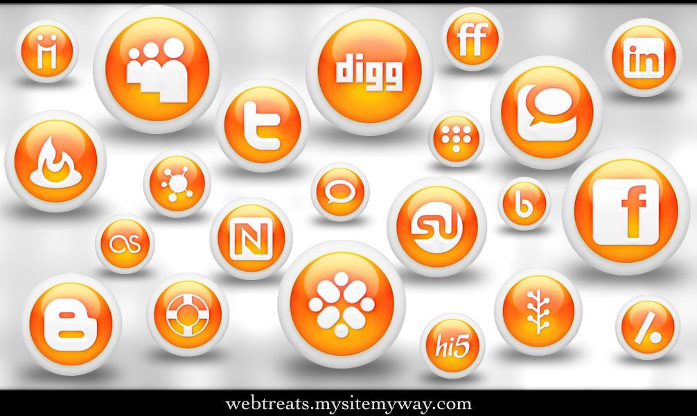 Glossy Orange Orb Soc. Media by WebTreatsETC