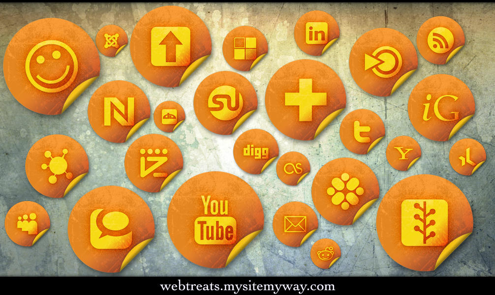 Orange Stickers Soc. Media by WebTreatsETC
