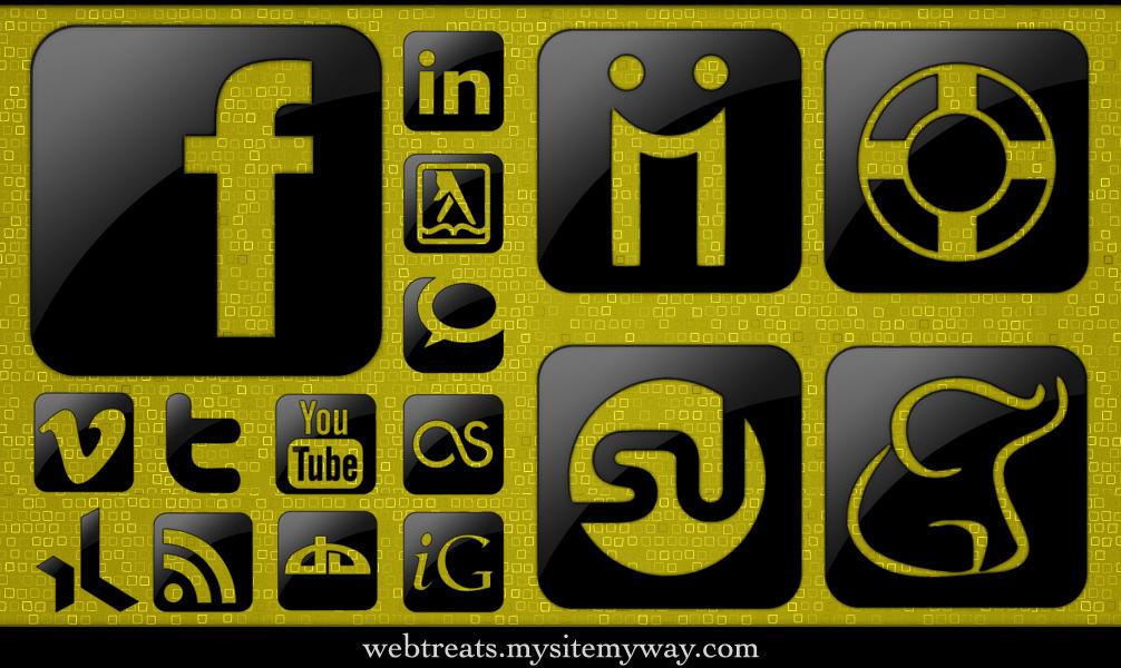 Glossy Black Social Media by WebTreatsETC
