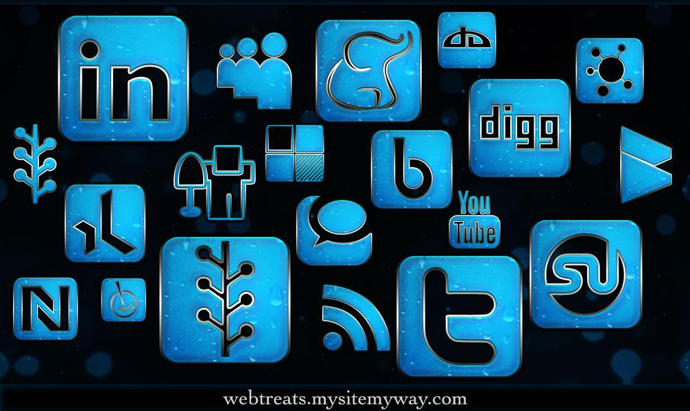 Blue Chrome Rain Icons by WebTreatsETC