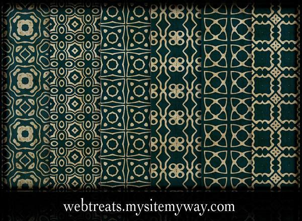 Ornate Royal Green Patterns by WebTreatsETC