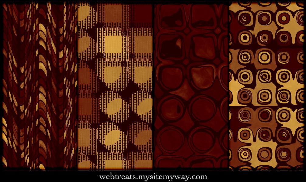 Golden Red Retro Patterns by WebTreatsETC