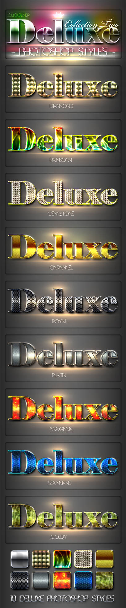 10 DeLuxe Photoshop Layer Styles FREE ASL FILE