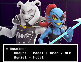 Asriel + Undyne (Gmod/SFM) - Model Download by Elesis-Knight