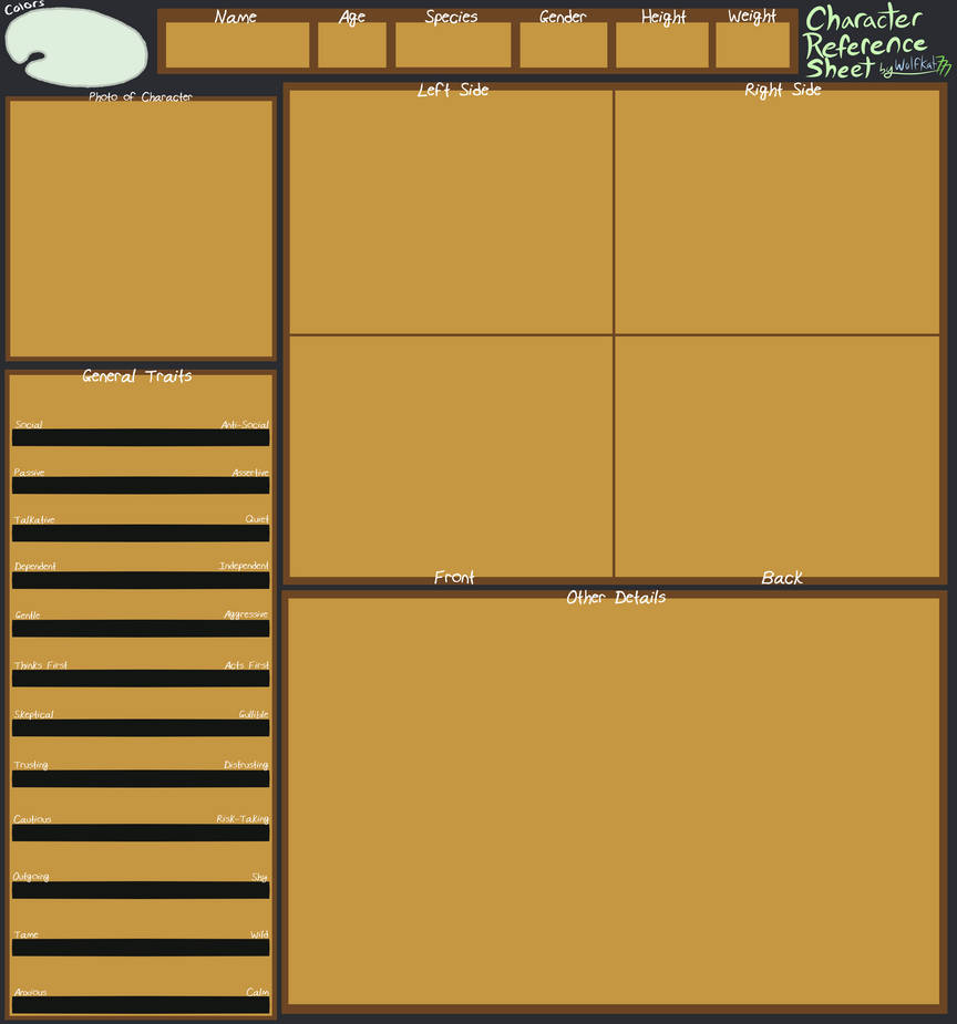 Character Ref. Sheet Blank Template V2 -DOWNLOAD-
