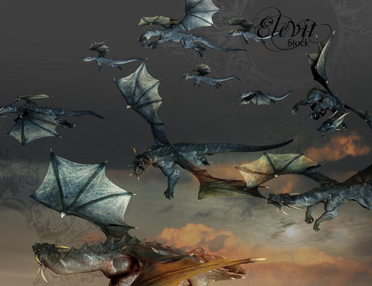E-S Dragon Flying By Elevit-Stock On DeviantArt