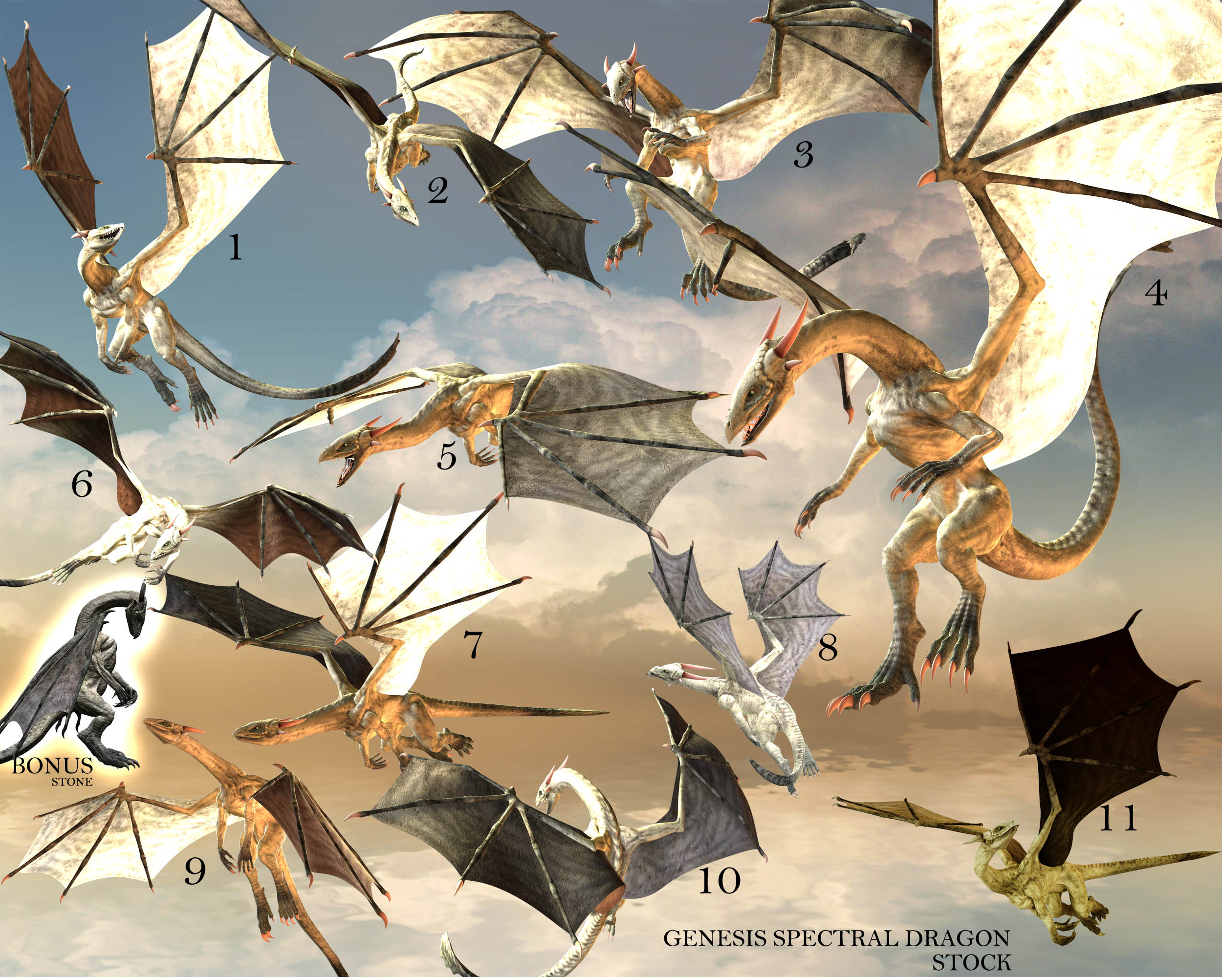 E-S genesis Spectral Dragon 11 flaying poses