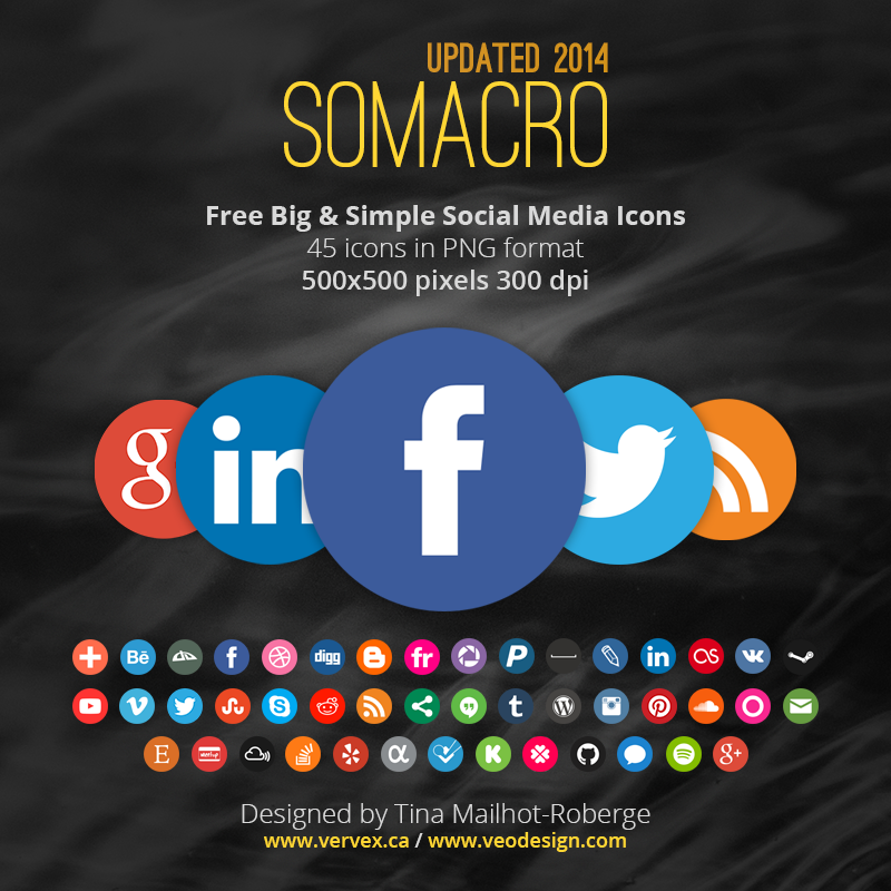 Somacro: 45 300DPI Social Media Icons by vervex