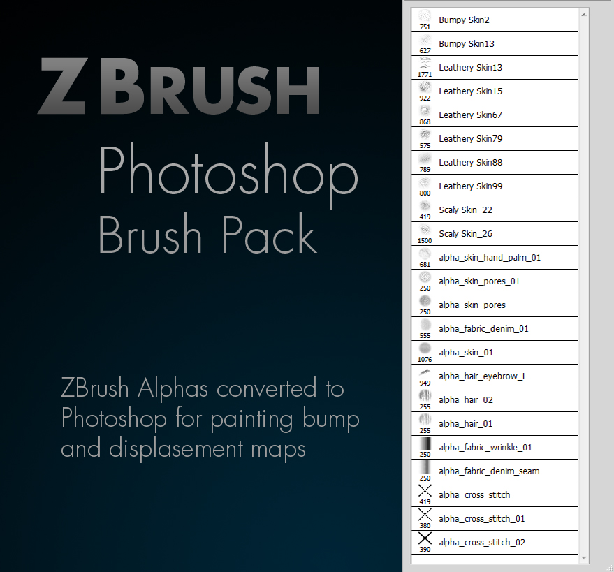 Zbrush Alpha Photoshop Brush Pack by GWiebe on DeviantArt