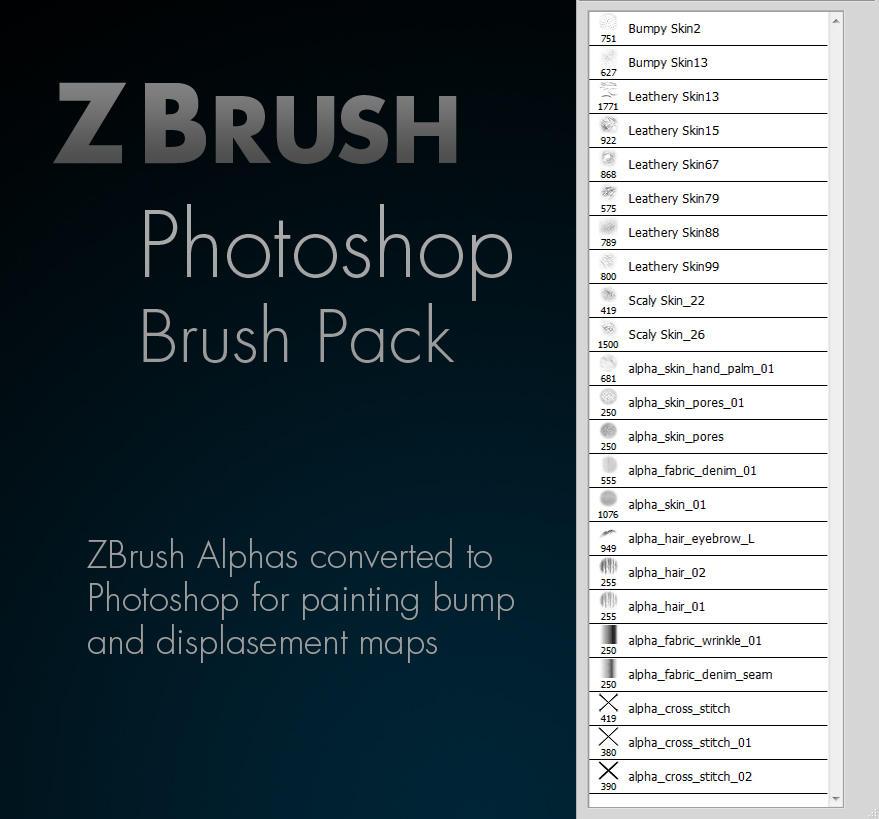 Zbrush Alpha Photoshop Brush Pack