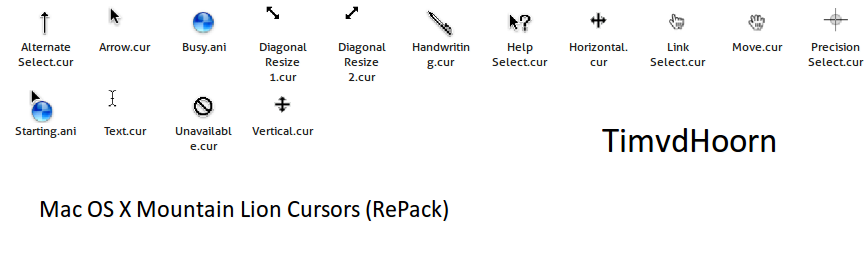 Mac OS X Mountain Lion Cursors by timvdhoorn on DeviantArt