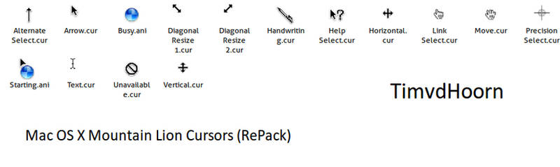 Mac OS X Mountain Lion Cursors