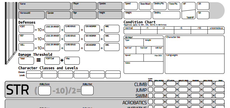 Star Wars: Saga Edition Character Sheet by exarobibliologist