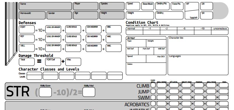 star wars saga character sheet Star Wars: Saga Edition Character Sheet by exarobibliologist on ...