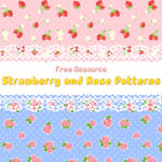 strawberry and rose patterns