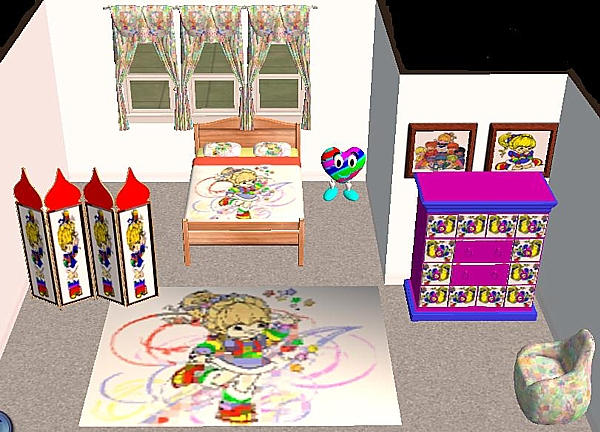 Sims 2 Rainbow Brite Furniture Set by enchantress on
