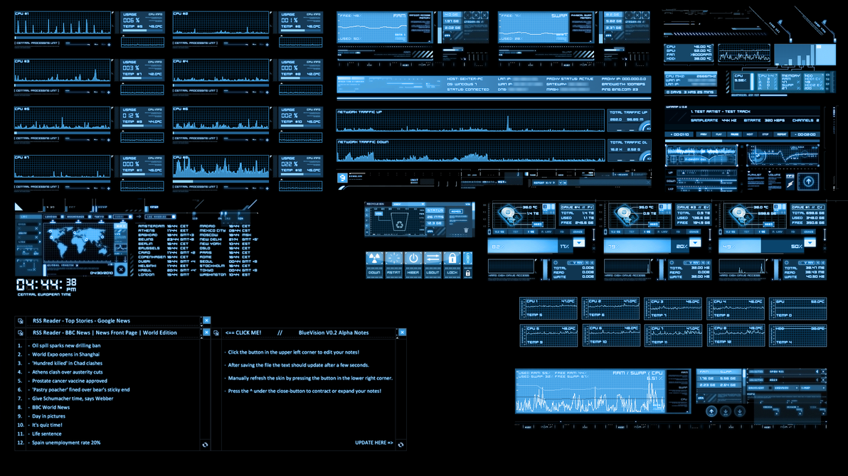 Bluevision V0 2 Alpha Rainmeter By G3xter On Deviantart