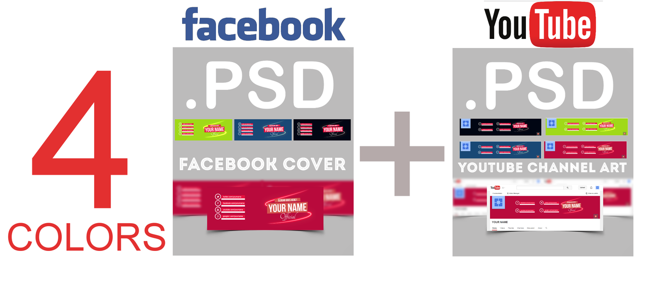 Facebook cover + Youtube channel art  .psd by AlbaniaGraphicDesign