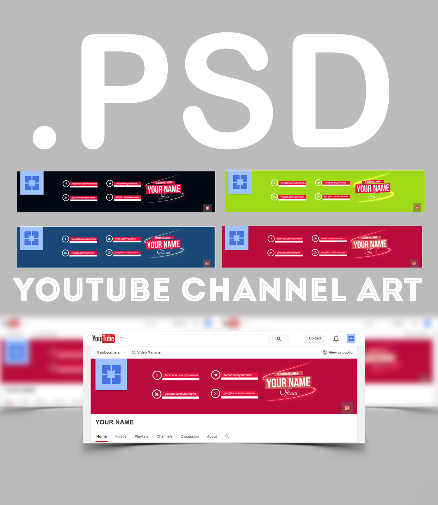 youtube channel art  PSD by AlbaniaGraphicDesign on DeviantArt