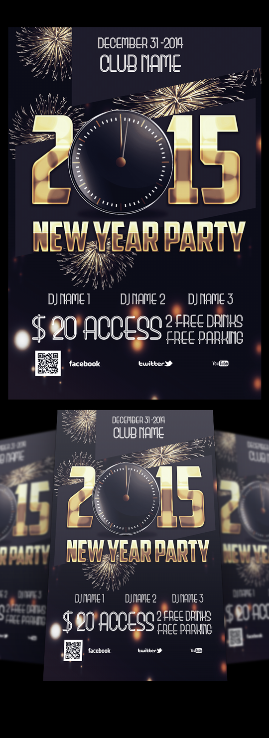 Flyer Poster  New Year 2015 Party .psd by AlbaniaGraphicDesign