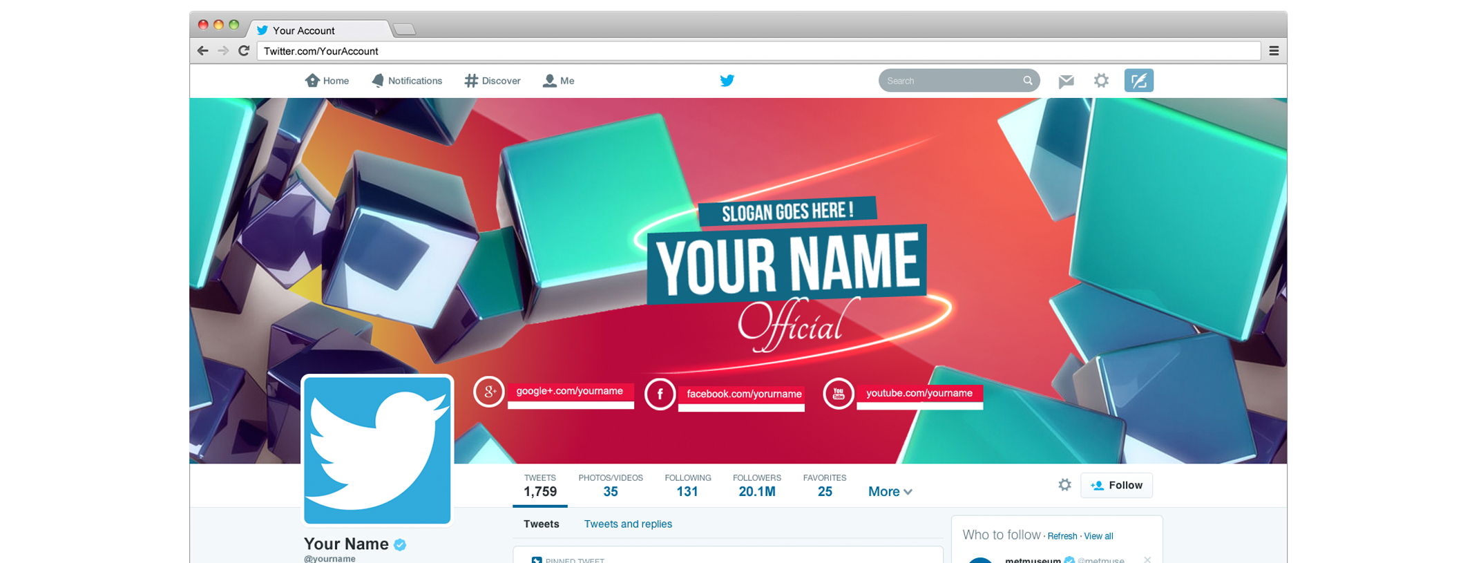 Twitter Cover 2014 header template  psd by