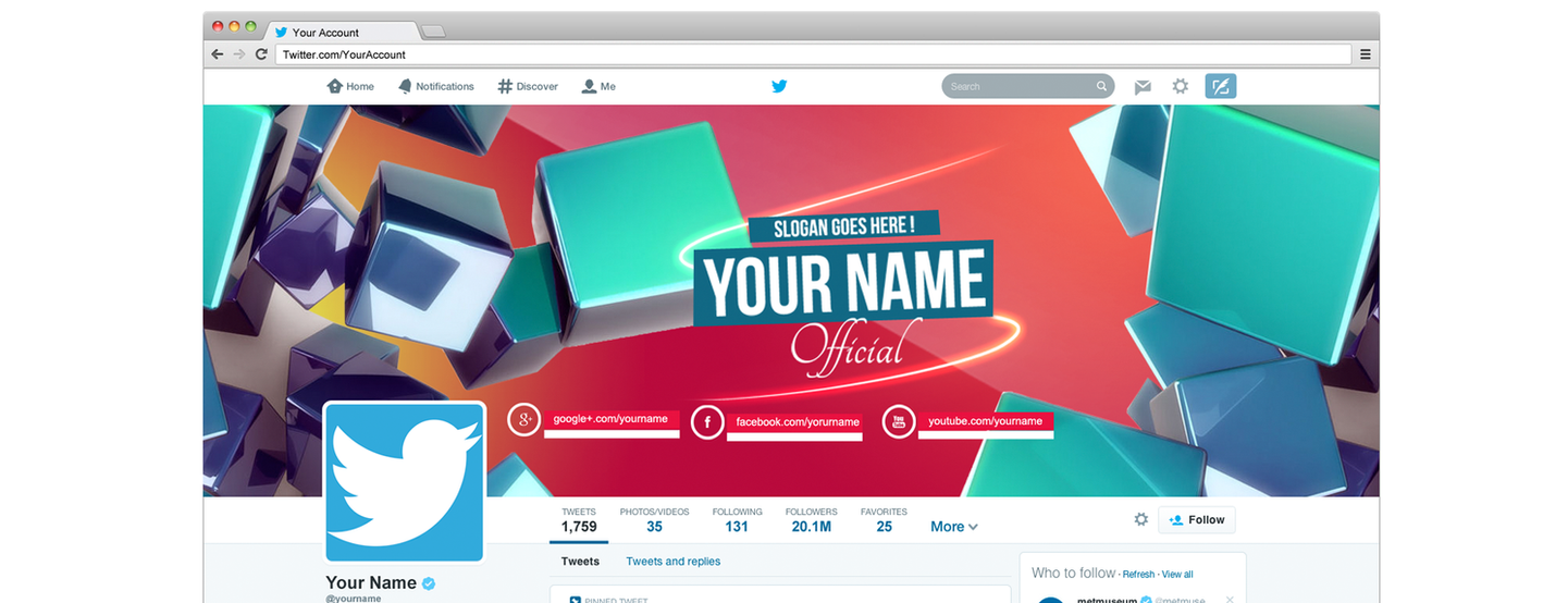 Twitter Cover 2014 Header Template D By Albaniagraphicdesign On