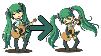 Hatsune Miku Guitar Animated Rainmeter