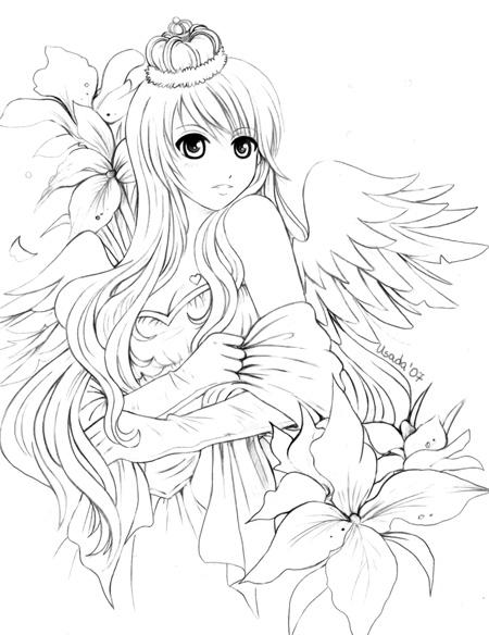 anime coloring pages angels - photo#24