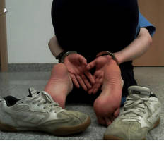 Handcuffed, tied bare feet, Hitec Skater sneaks. by SneakerBoyBondage