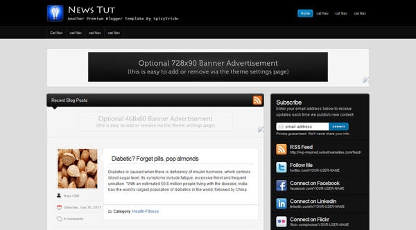 News TUT -Blogger Template by raja3c