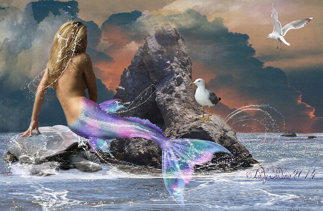 Mermaid and Friends-Mermaid, es a baratai by ladyjudina