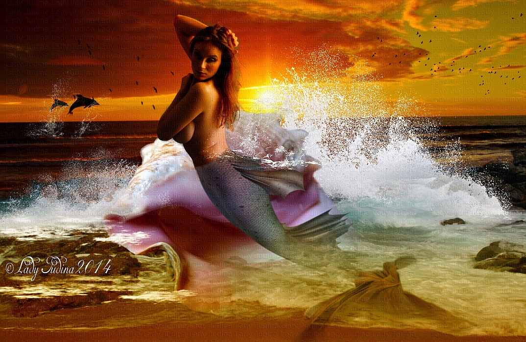 Sunset, and a mermaid-Naplemente, es a mermaid by ladyjudina
