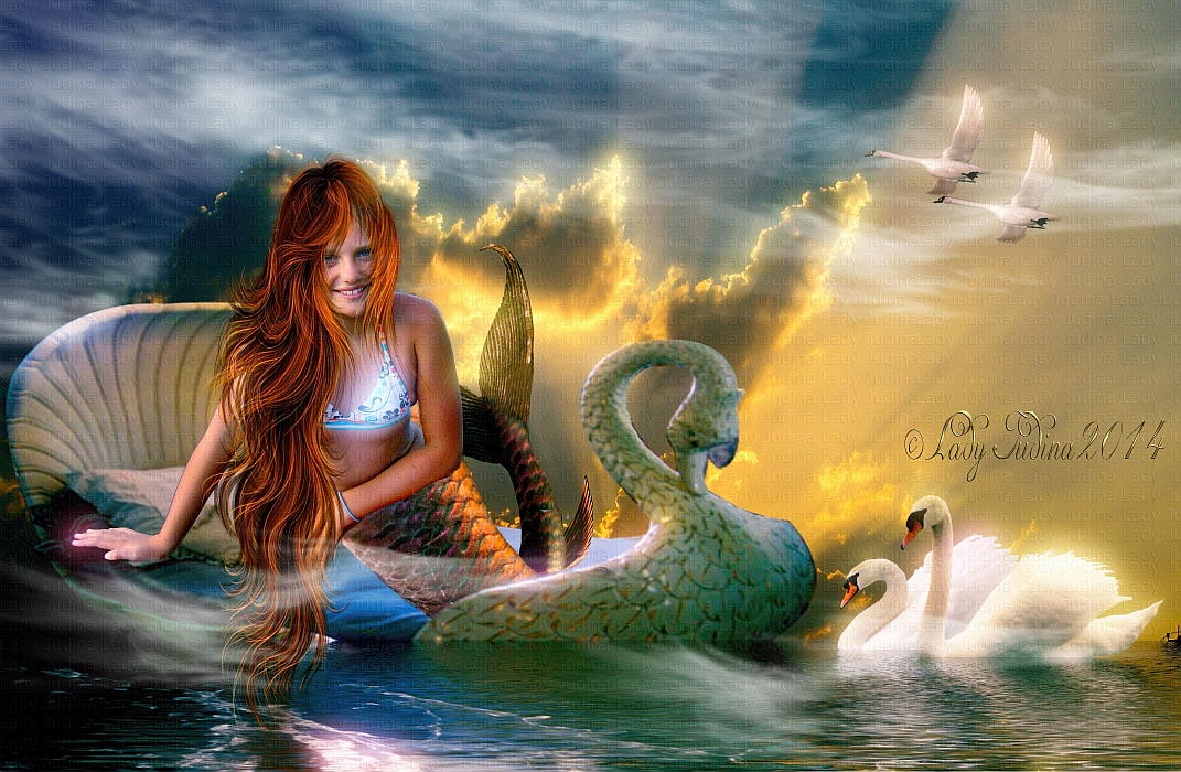 Swan and the Mermaid 2-Hattyuk, es a mermaid 2 by ladyjudina