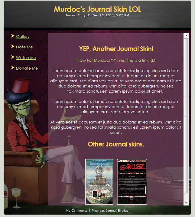 Murdoc's Journal Skin by Vinded