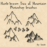 Mountain and Tree brushes by Eowyn-Saule